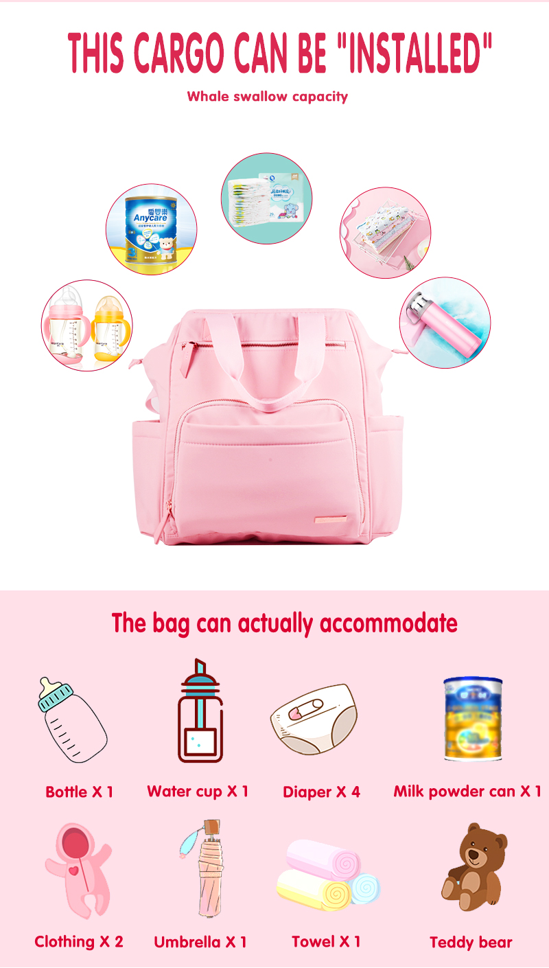 Multifunction 3 In 1 Pink Baby Changing Diaper Bag
