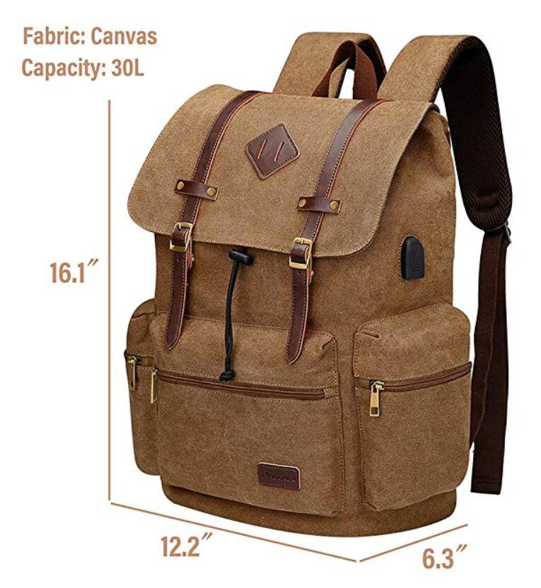 Canvas Leather Rucksack Backpack Vintage Laptop Bookbag For Men Women