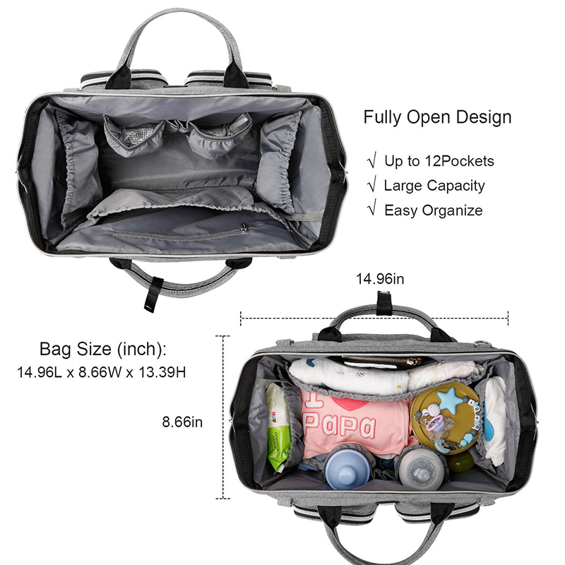 Diaper Bag Fully Open Design