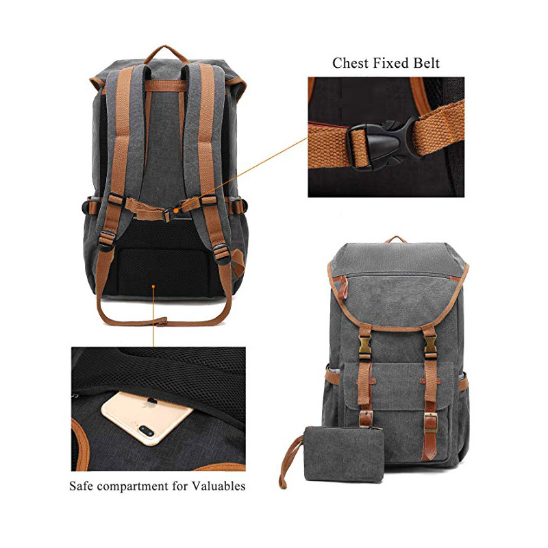 Safety Structure Design Canvas Backpack