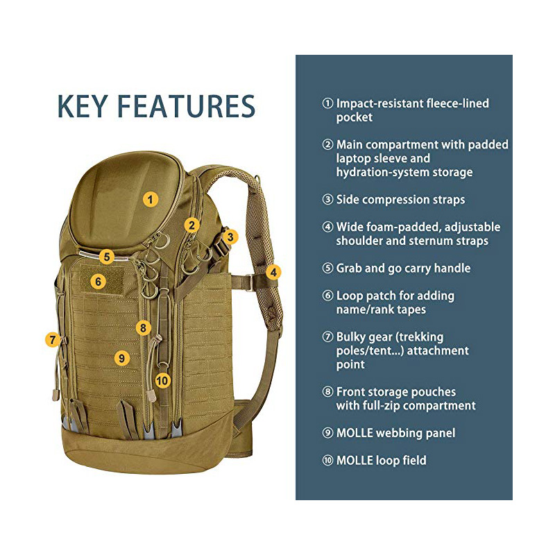 Military Backpack with Molle Compatibility