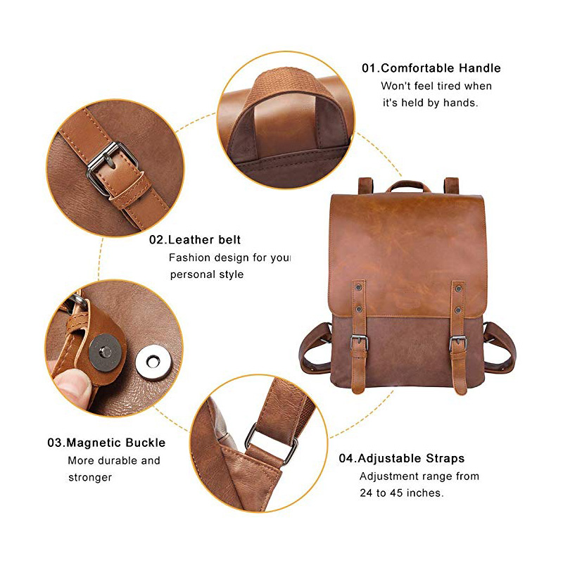Vintage Leather Casual Backpack