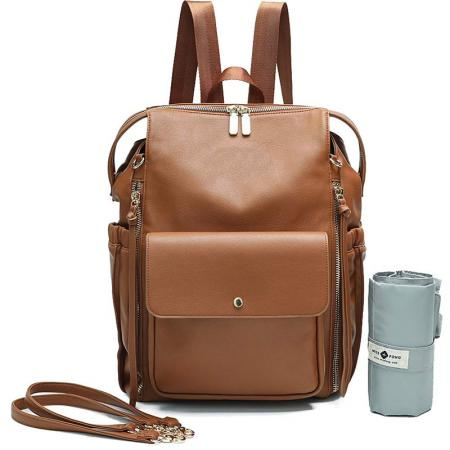Large Capacity Leather Diaper Backpack